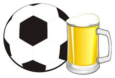 Soccer ball and beer. Soccer ball with full mug of beer Vector Illustration
