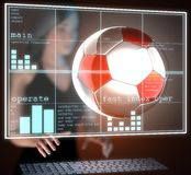 Soccer ball on  futuristic hologram Stock Photo