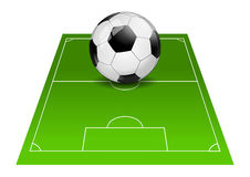 Soccer ball on game field isolated Royalty Free Stock Photos