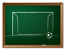 Soccer ball with gate on chalkboard Royalty Free Stock Image