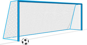 Soccer ball and gate isolated on the white Royalty Free Stock Photography
