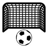 Soccer ball and gate Penalty concept Goal aspiration Big football goalpost icon black color vector illustration flat style image. Soccer ball and gate Penalty vector illustration