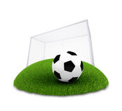 Soccer ball and gate on plot of green grass Stock Photography