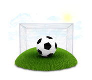 Soccer ball and gate on plot of green grass Royalty Free Stock Images