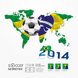 Soccer ball Geometric on Flag of Brazil 2014.Vector. Royalty Free Stock Photos