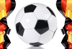 Soccer Ball with German Flag Banderole stock photos