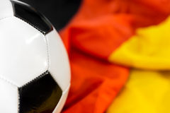Soccer ball on a german flag Royalty Free Stock Photography