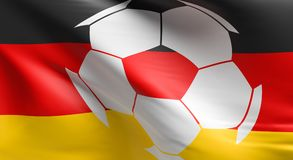 Soccer ball with the German flag. Soccer championship concept 3d rendering Royalty Free Stock Images