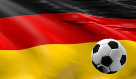 Soccer ball with the German flag. Soccer championship concept 3d rendering Stock Photography