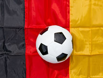 Soccer ball and german flag. German soccer ball in a stadium Stock Photo
