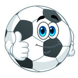 Soccer ball gesturing thumb up. Cartoon cute soccer ball gesturing thumb up on white background royalty free illustration