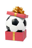 Soccer ball in a gift box Royalty Free Stock Photography