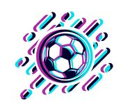 Soccer ball in a glitch effect vector illustration isolated on white. Football ball in a glitch effect stock illustration