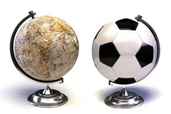 Soccer ball and globe Stock Photos