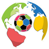 Soccer ball and Globe Stock Photo
