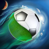 Soccer ball globe with grass travel in space Royalty Free Stock Image