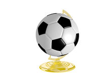 Soccer Ball On Globe Stand Royalty Free Stock Images