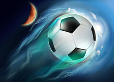 Soccer ball globe travel in space Stock Photo