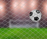 Soccer ball in goal. Net with green field background Stock Photos