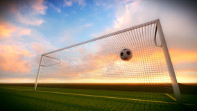 Soccer ball and goal Stock Images