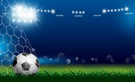 Soccer ball in goal on grass with spotlight Stock Images