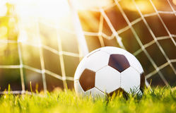 Soccer ball in goal Stock Photo