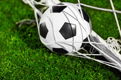Soccer ball and goal net Stock Image