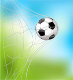 soccer ball in the goal net Stock Images