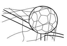 Soccer ball in the goal net. Vector black illustration on white  white background Royalty Free Stock Image
