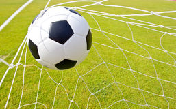 Soccer ball in the goal Royalty Free Stock Image