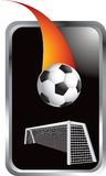 Soccer ball and goal in silver frame Royalty Free Stock Images