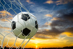 Soccer ball into Goal Stock Images