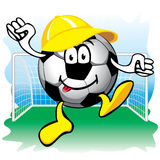 Soccer ball in the goal. Vector. Stock Images