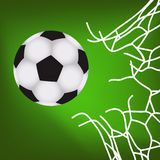 Soccer ball in the goal Stock Images