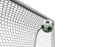Soccer ball going into the top of the corner of the goal football Royalty Free Stock Photography