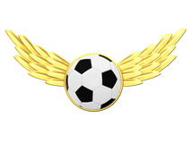Soccer ball with gold wings Stock Images