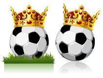 Soccer ball with a golden crown Stock Photo
