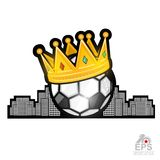 Soccer ball with golden crown and city behind. Sport logo isolated on white. For any team or competition vector illustration