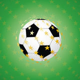 Soccer ball with golden stars. 3d sphere Stock Images