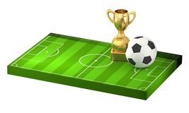 Soccer ball and golden trophy at soccer field 3D illustration is. Olated design Royalty Free Stock Photos