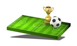 Soccer ball and golden trophy at soccer field 3D illustration is. Olated design Stock Photos