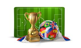 Soccer ball and golden trophy at soccer field 3D illustration is. Olated design Stock Photo