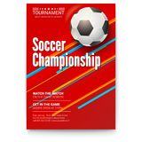 Soccer ball on graphics background. Poster of tournament football league. Design of banner for sport events. Template of. Advertising for championship of soccer Stock Image