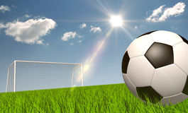 Soccer ball on the grass Stock Photos