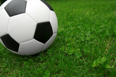 Soccer ball on grass Royalty Free Stock Images