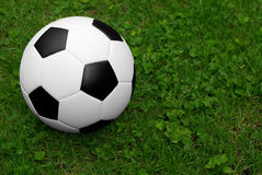 Soccer ball on grass. Soccer ball isolated on a field of grass Royalty Free Stock Photos