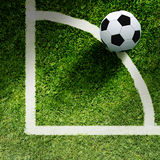Soccer ball on grass. And line Stock Photos