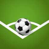 Soccer ball on the grass. Soccer ball lying on the corner of the game field Vector Illustration