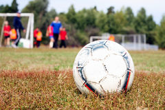 Soccer ball. On a grass royalty free stock images