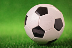 Soccer ball on a grass Stock Images